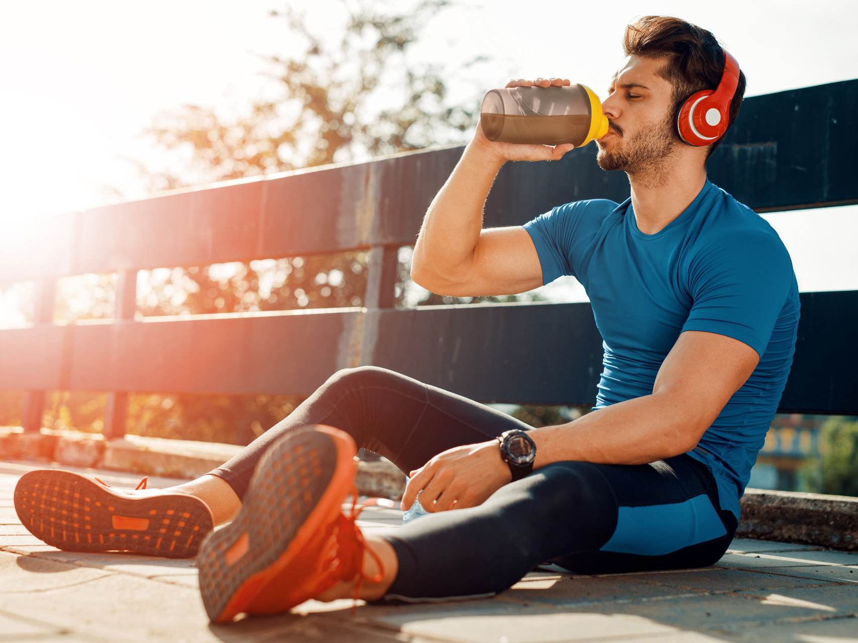 Man drinking protein after a workout